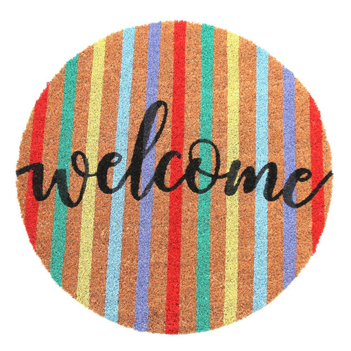 Onlymat Multicolor Natural Coir  Printed  'Welcome' Shapemat