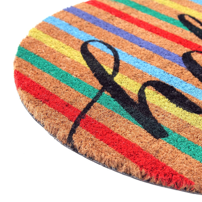 "Colourful Multi-Color ""Hello"" printed Natural Coir Round Shape Mat"