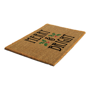 Merry & Bright Christmas Theme Natural Printed Coir Natural Door Mat