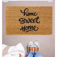"Elegant Handwritten ""Home Sweet Home"" Printed Natural Coir Floor Mat - OnlyMat"