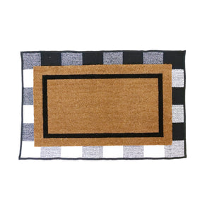 COMBO: Personalized Doormat with Large Initials and Underlay Cotton Rug - Design 3