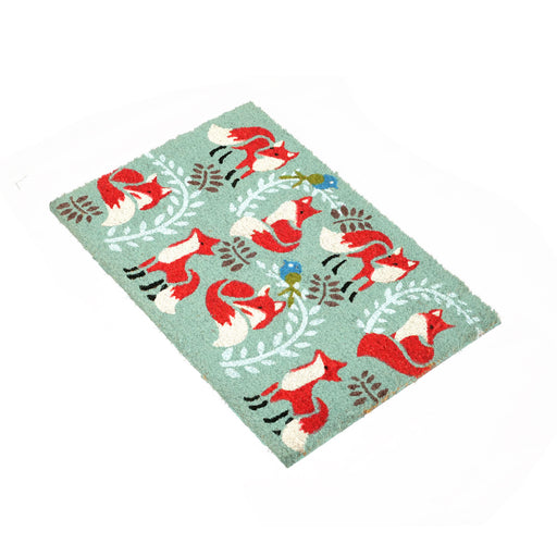 Fox Pattern Xmas Christmas Design Natural Printed Coir Floor Mat