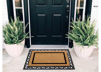 COMBO: Personalized Doormat with Large Initials and Rubber Tray Mat - Design 3