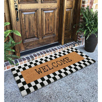 Plaid Border Black & White Pattern Welcome Natural Coir Doormat (120cm x 40 cm)
