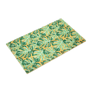 Fern Leaves Green Design Natural Printed Coir Floor Mat