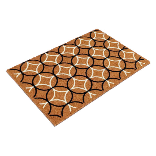 Natural Organic Coir Mat with Swiss Flocked Design - 60cm  x 90cm