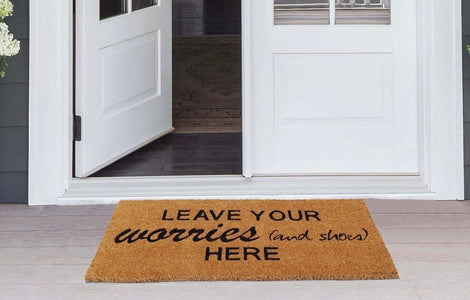 "Funny  "" Leave Worries Outside "" Large Size Natural Coir Oblong Mat"