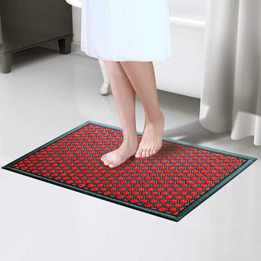 Red Colour Polka Dot All Purpose Mat for Bathroom Kitchen Entrance