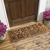 Mosaic Tile Pattern Natural Coir Doormat (120 x 40)
