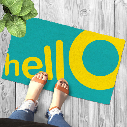 "Light Green and Yellow Colour ""Hello"" Printed Natural Coir Entrance Mat"