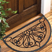 Half Moon Doormat, Natural Coir Surface and Rubber Moulded Border and Backing Mat (60cm x 90cm x 2 cm)