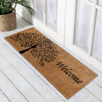 Tree of Life with Welcome -  Printed Natural Coir Oblong Doormat - 40cm x 120cm