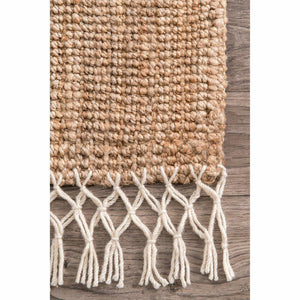Handwoven Jute Carpet 160cm x 230cm with Cotton Frills Border