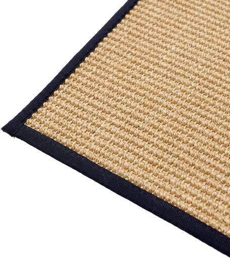 Natural Sisal Carpet with Black Serged Border- Luxury Rug, Organic Carpet, BedSide Runner