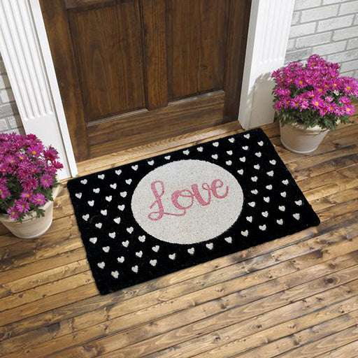 Stylish Glitter LOVE Coir Floor Mat