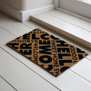Welcome Printed Black & Brown Natural Coir Door Mat