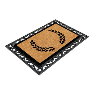 COMBO : Floral Personalized Doormat (Design 2) with Rubber Tray Mat