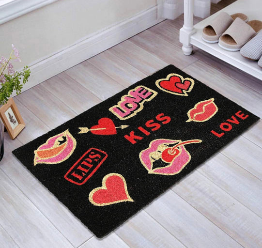 Kiss Love Stickies Printed Coir Mat - Valentine Mat