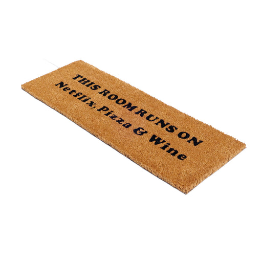 "Funny  "" Netflix and Chill"" Large Size  Natural Coir Oblong Mat"