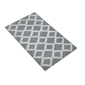 Grey Diamond Pattern Natural Printed Coir Floor Mat