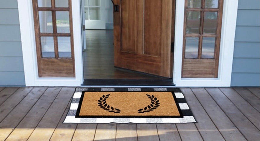 COMBO : Floral Personalized Doormat (Design 2) with Cotton Underlay Rug