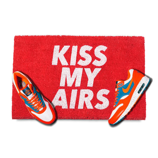 """KISS MY AIRS""  printed Red Colour Natural Coir Door Mat - Funny Floor Mats"