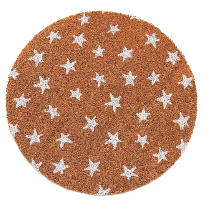 Elegant White Star printed Natural Printed Coir Round Shape Floor Mat