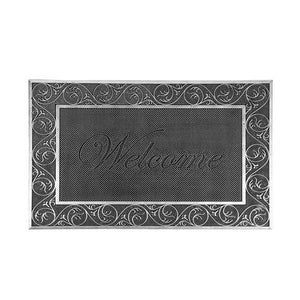 Lightweight Black Metallic Finish  Flexible Rubber Pin Welcome Mat - OnlyMat