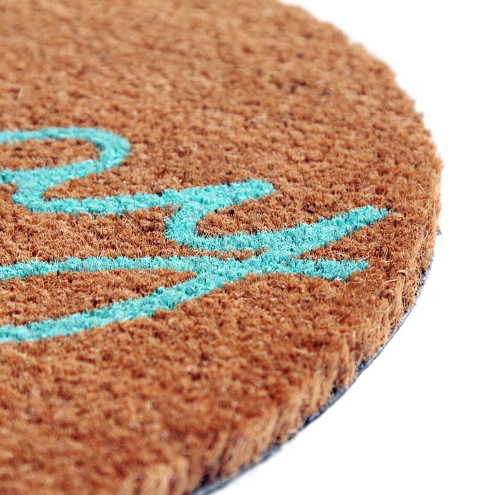 "Funny ""Hooray, You are Here"" Printed Round Natural Coir Floor Mat"