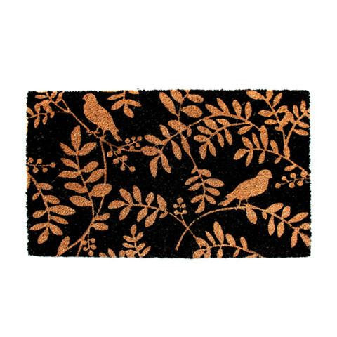 Elegant Leaf & Bird Design Printed Black Natural Door Floor Mat - OnlyMat