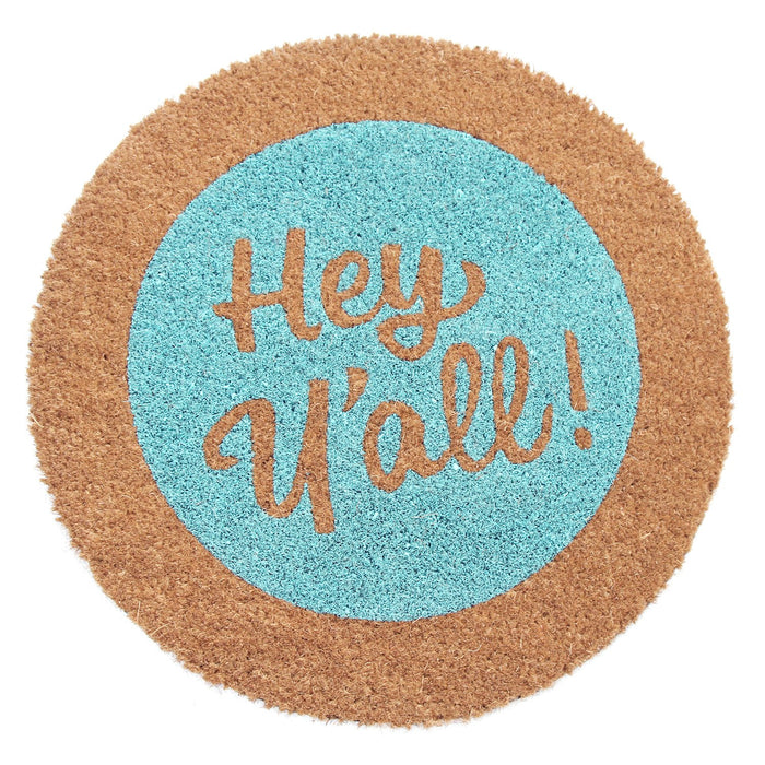Light Blue with Brown Border Round Shaped Natural Coir Floor Mat - OnlyMat