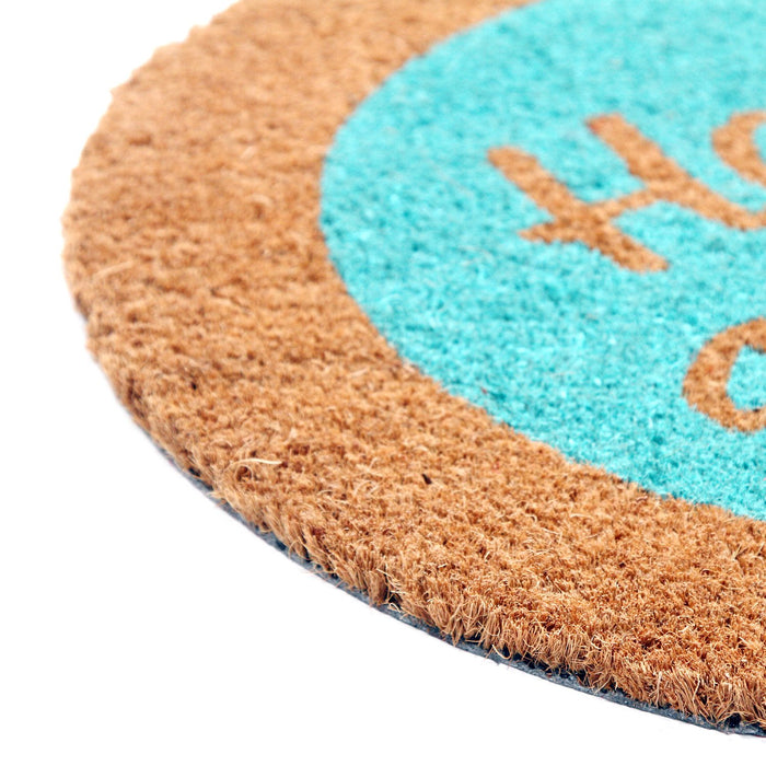 Light Blue with Brown Border Round Shaped Natural Coir Floor Mat