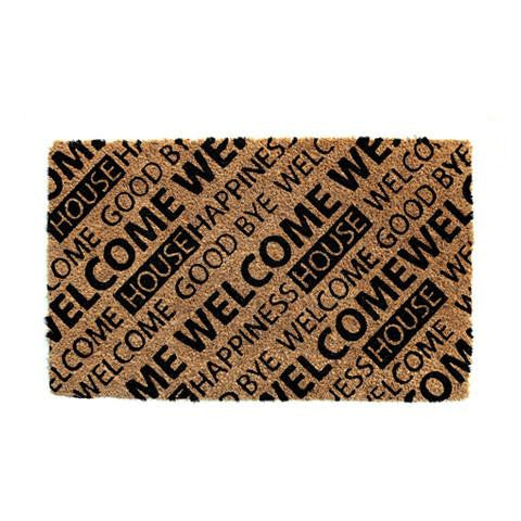 "Stylish Brown & Black ""Welcome"" Printed Natural Coir Floor Mat"