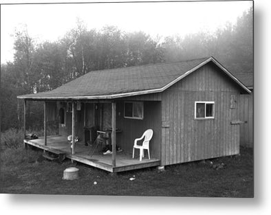Misty Morning At The Cabin - Metal Print