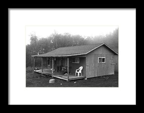 Misty Morning At The Cabin - Framed Print