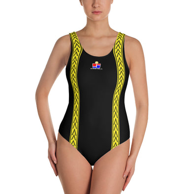 Black and Yellow One-Piece Swimsuit