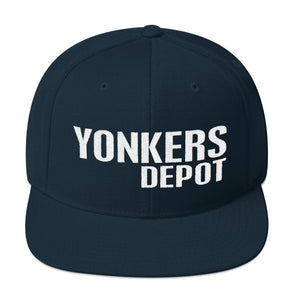 Yonkers Depot Text Logo Snapback Hat