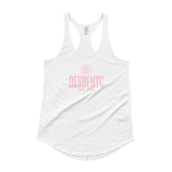 Ladies Shirttail Tank pink logo - Desdenyc Clothing