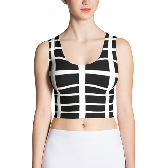 Nothing But Chaos Women's Black Striped Crop Top