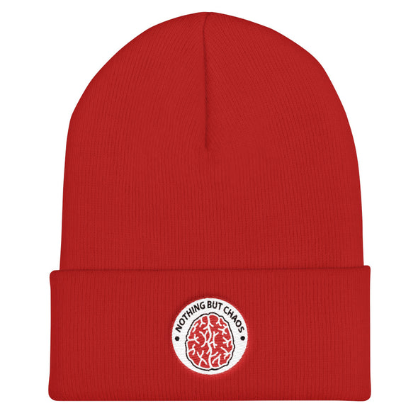 Brain Logo Red Circle Cuffed Beanie
