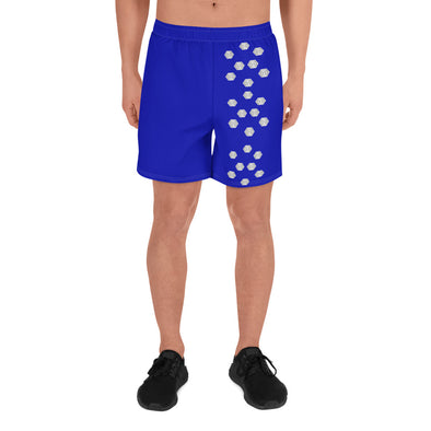 Mark Savior Iconic logo Men's Solid Blue Athletic Long Shorts