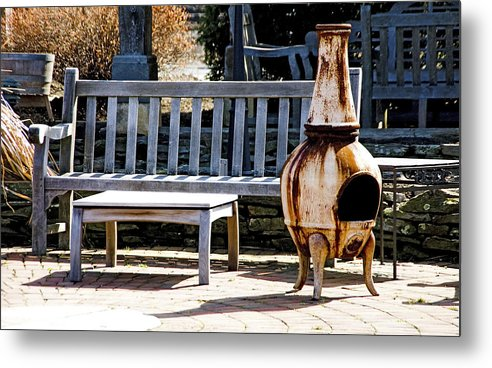 Rusty Antique Fire Place - Metal Print