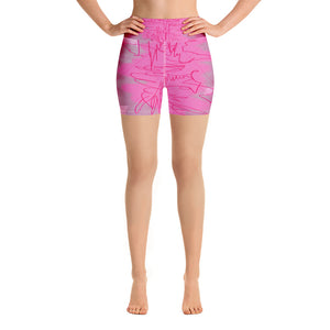 """Pink poem"" Yoga Shorts"