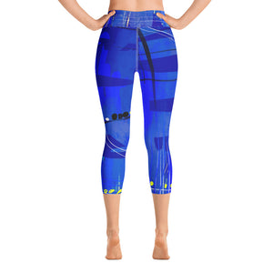 """Blue Mix"" High Waist Capri Leggings"