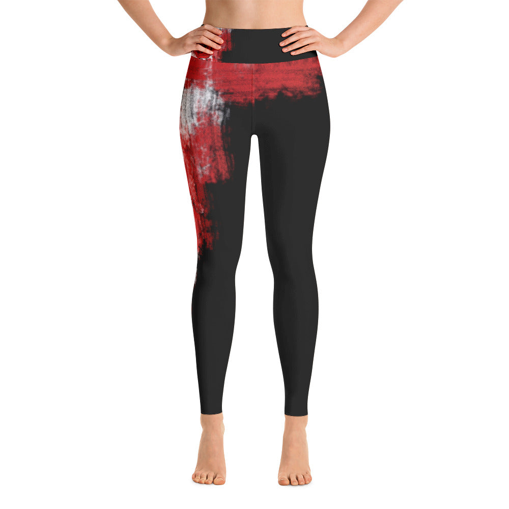 """A single rose"" High waist Leggings"