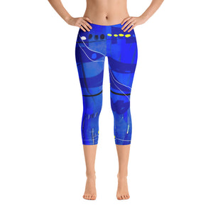 """Blue mix"" Capri Leggings"
