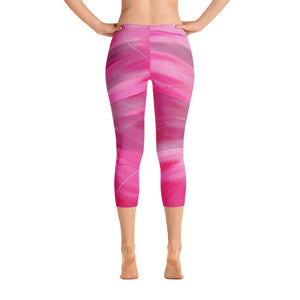 """Pink poem"" Capri Leggings"