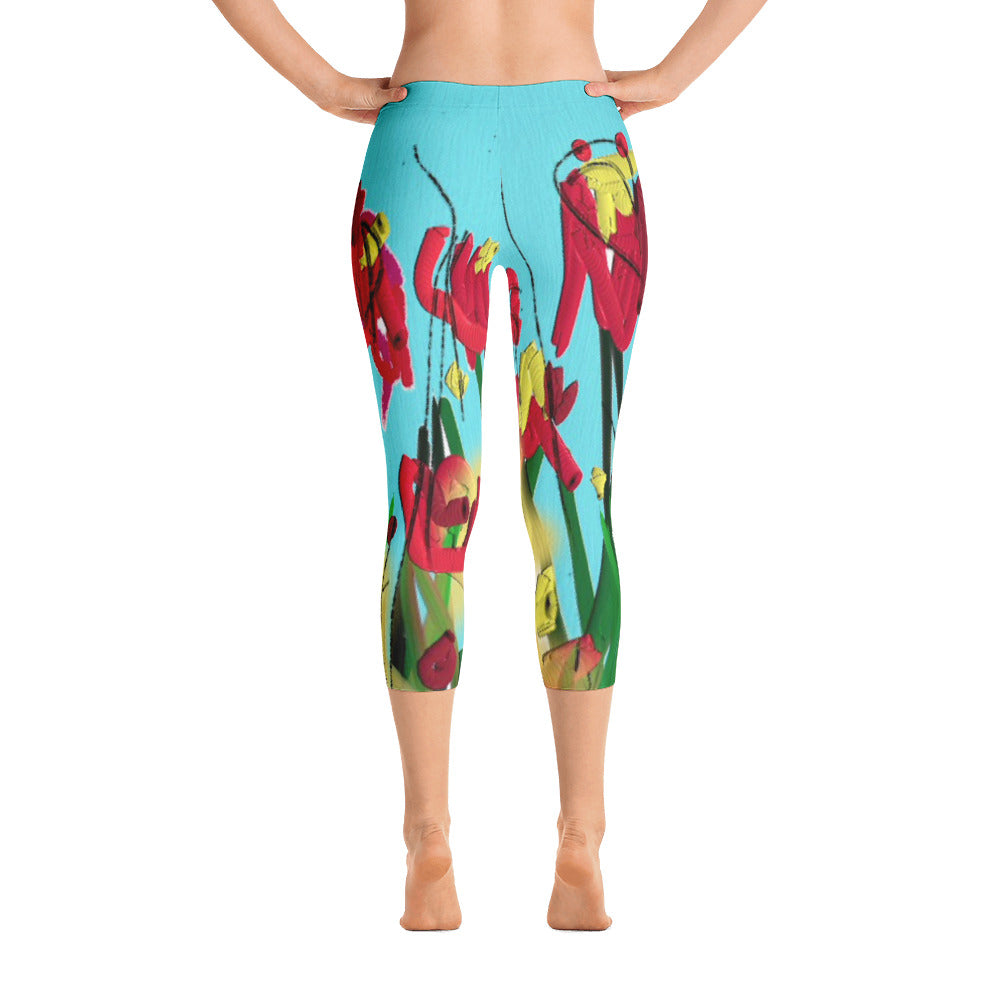 """Wild flower"" Capri Leggings"