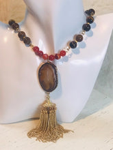 Tiger's Eye Long Beaded Tassel Necklace