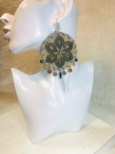 Large Beige Leather Beaded Dangle Earrings